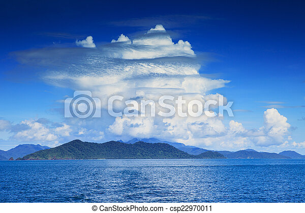 beautiful white clouds on blue sky and clear sea water use as na - csp22970011
