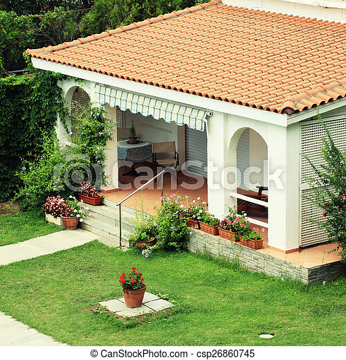 Beautiful White House With Small Terrace In The Garden Beautiful White House With Red Tile Roof Small Terrace And Lawn In Canstock