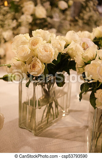 Beautiful White Roses Floral Arrangement In Glass Vase A Beautiful White Roses Floral Arrangement In Glass Vase For Event Canstock