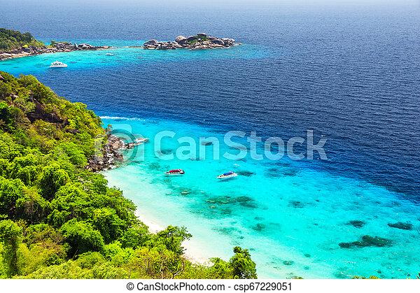 Beautiful white sand beach and turquoise water - csp67229051