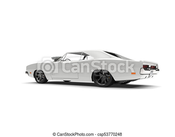 Beautiful White Vintage American Muscle Car Tail View