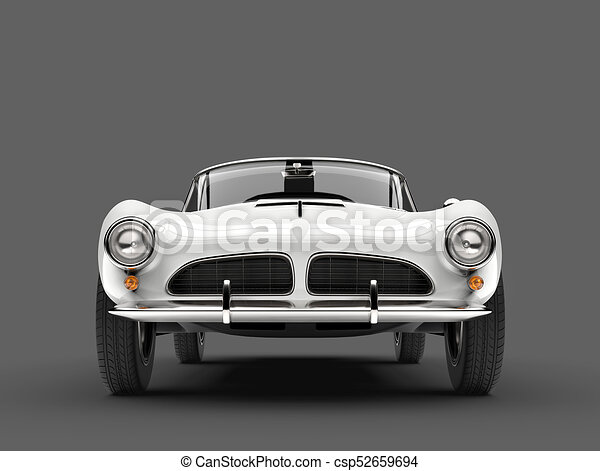 Beautiful White Vintage Sports Car Front View