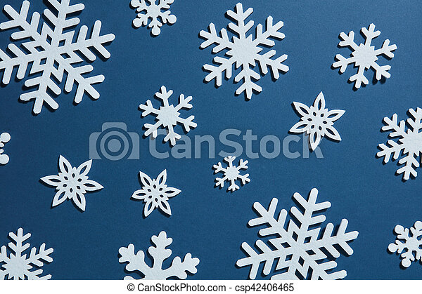 beautiful winter background of snowflakes - csp42406465