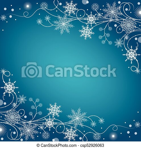 Beautiful winter frame made of snowflakes - csp52926063