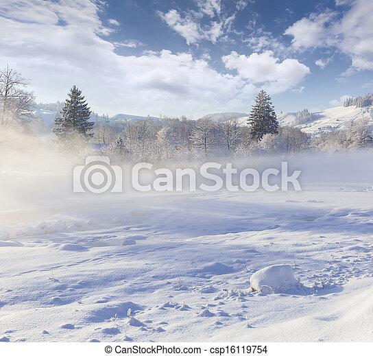 Beautiful winter landscape in the mountain village. Foggy morning