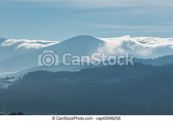 Beautiful winter landscape with clouds in the mountains. - csp43096256