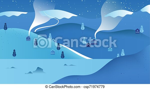 Beautiful winter scenery landscape, small village located on the mountain with lake, cool blue tone - csp71974779