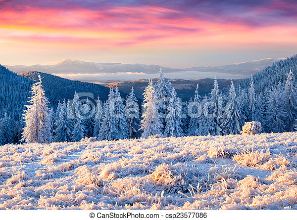 Beautiful winter sunrise in the mountains - csp23577086