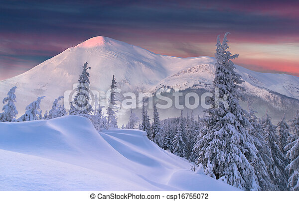 Beautiful winter sunset in the mountains - csp16755072