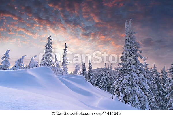 Beautiful winter sunset in the mountains - csp11414645