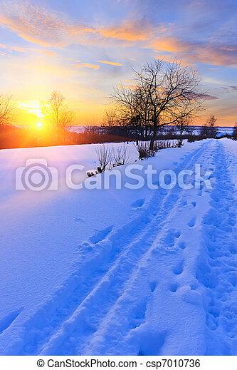 Beautiful winter sunset - csp7010736