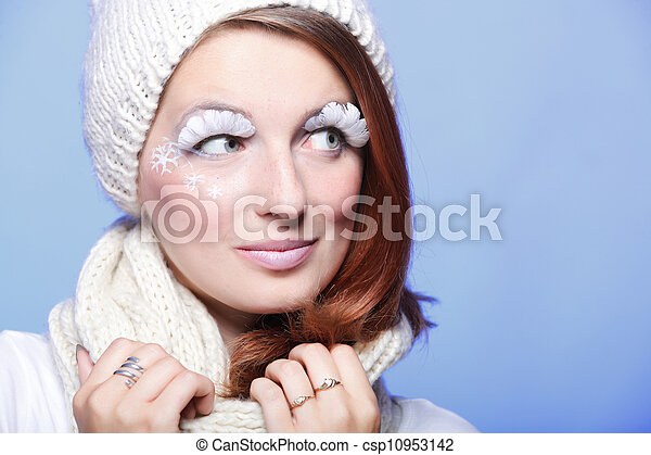 Beautiful winter young woman portrait with white eye-lashes - csp10953142