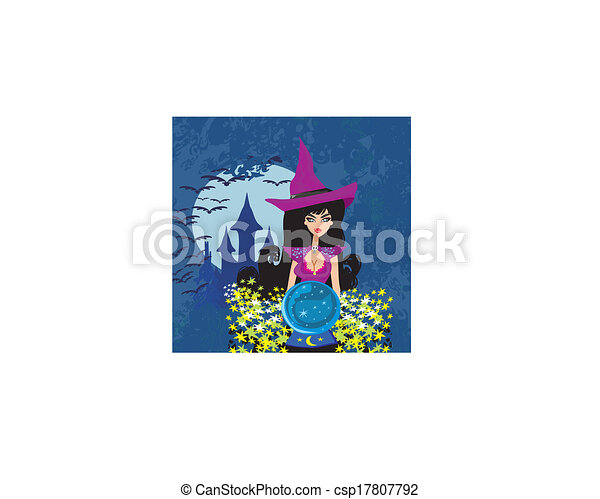 beautiful witch with crystal ball. - csp17807792