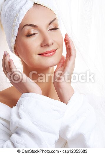 Beautiful woman after shower - csp12053683