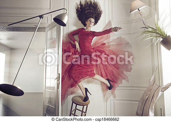 Beautiful woman and the levitating things - csp18466662