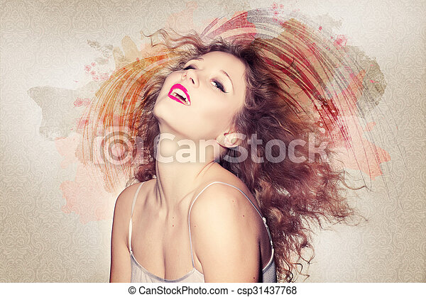Beautiful woman artwork - csp31437768