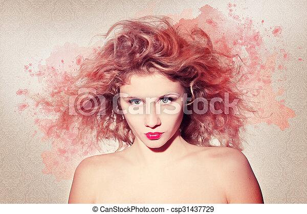Beautiful woman artwork - csp31437729