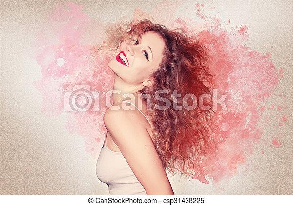 Beautiful woman artwork - csp31438225