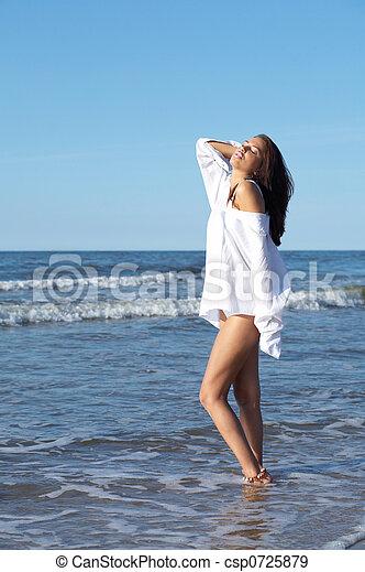Beautiful Woman at seaside - csp0725879