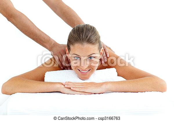 Beautiful woman being massaged  - csp3166763
