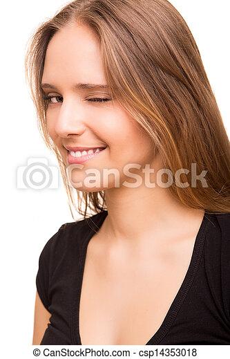 Beautiful woman blinking eyes - csp14353018