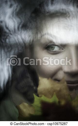 Beautiful woman close-up portrait - csp10975287