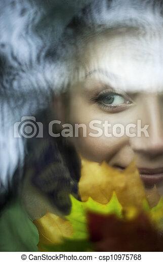 Beautiful woman close-up portrait - csp10975768