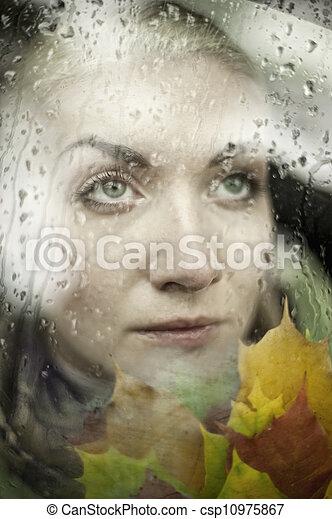 Beautiful woman close-up portrait - csp10975867