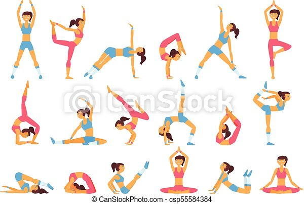 Beautiful Woman Doing Various Exercises Yoga Poses Healthy Lifestyle Cartoon Character Of Young Girl In Sportswear Sport