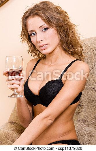 Beautiful woman drinking red wine - csp11379828