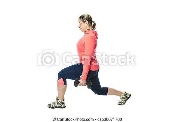 Beautiful  woman exercising - csp38671780