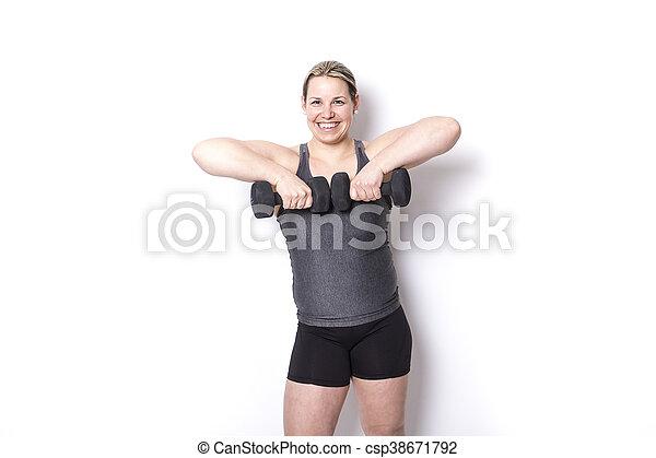 Beautiful  woman exercising - csp38671792