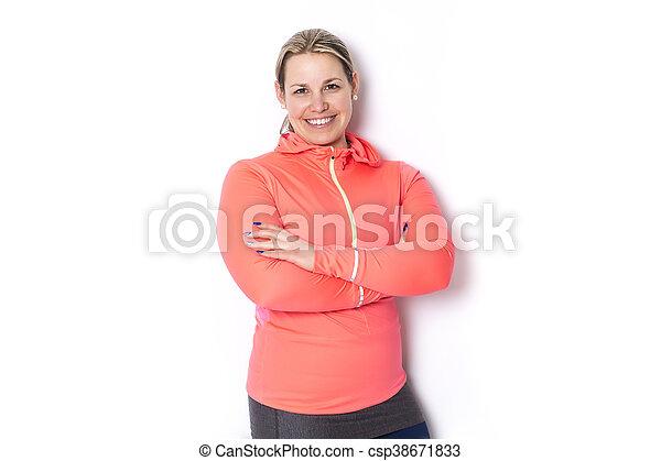 Beautiful  woman exercising - csp38671833
