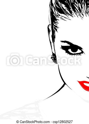 beautiful woman face illustration of beautiful woman face