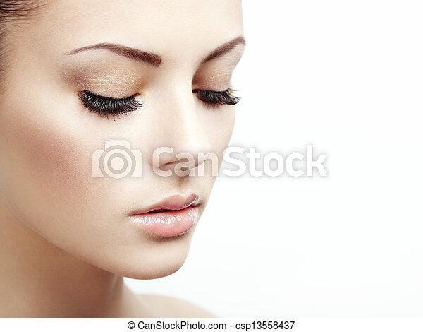 Beautiful woman face. Perfect makeup - csp13558437