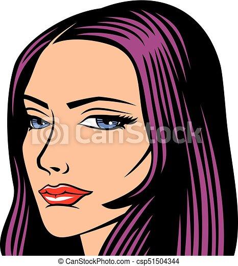 beautiful woman face vector illustration - csp51504344