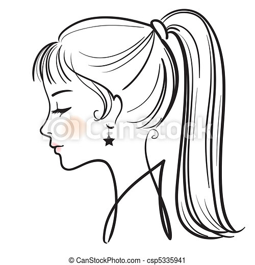 beautiful woman face vector illustration  - csp5335941