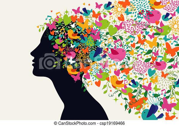 Beautiful woman hair season concept - csp19169466