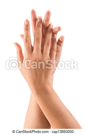 Beautiful woman hands over white background - csp13850250