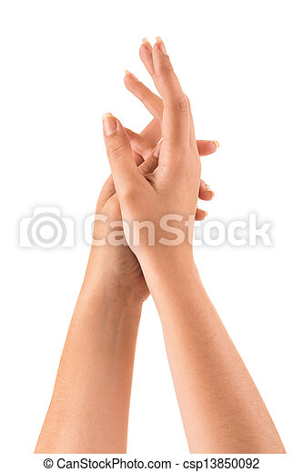 Beautiful woman hands over white background - csp13850092