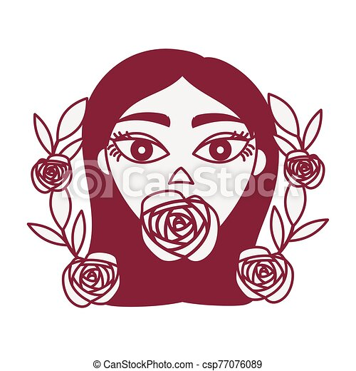 Beautiful Woman Head With Roses Decoration Vector Illustration Design