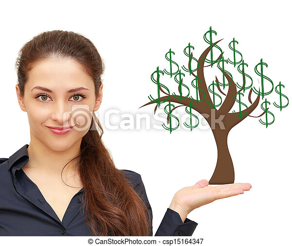 beautiful woman holding on hand money tree with green stock photo rh canstockphoto com People with Money Clip Art Stacks of Money Clip Art