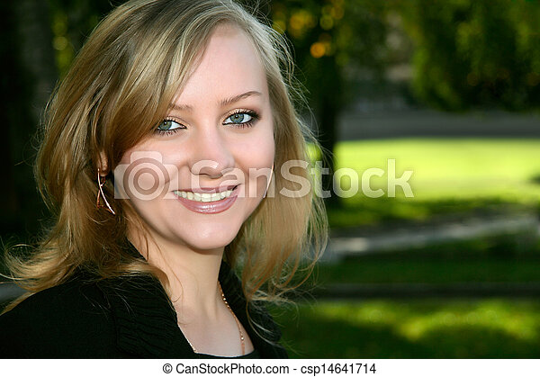 beautiful woman in a city park. - csp14641714