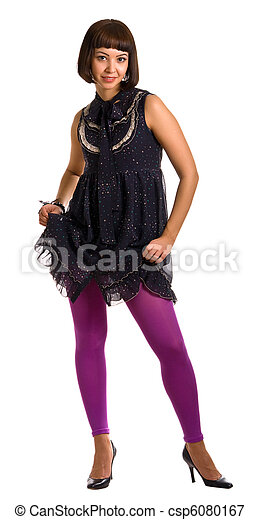 beautiful woman in a dark dress and lilac stockings - csp6080167