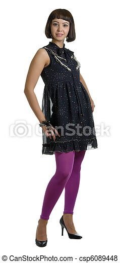 beautiful woman in a dark dress and lilac stockings - csp6089448