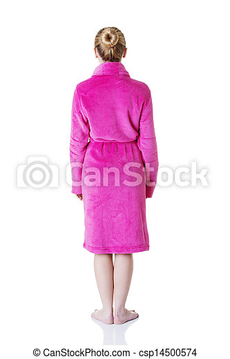 Beautiful woman in bathrobe standing back to the camera - csp14500574