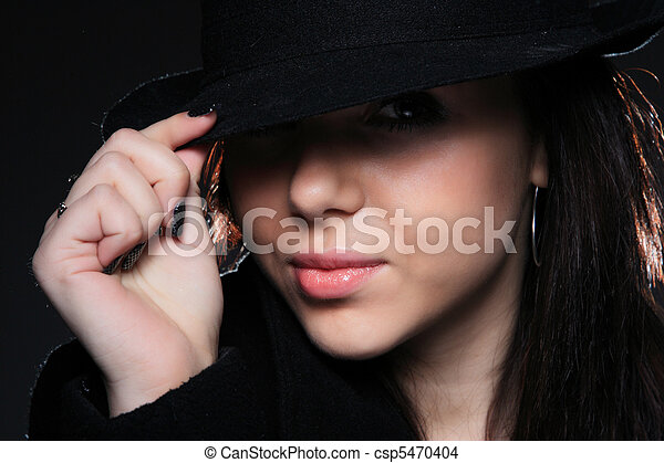 Cute style of a beautiful woman in bowler hat . 51d97239852a