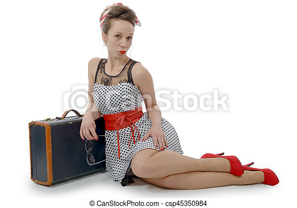 beautiful woman in retro style with suitcase - csp45350984