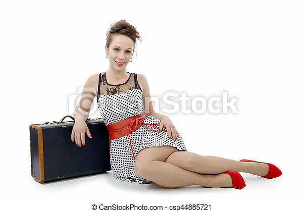 beautiful woman in retro style with suitcase - csp44885721