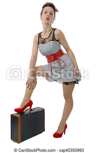 beautiful woman in retro style with suitcase - csp45350993